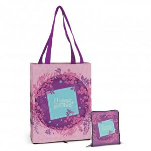 dallas compact tote bag that can be folded down into a zippered pounch and custom printed company logo