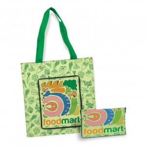 promotional cali compact tote bag that can be folded down into a zippered pounch and custom printed company logo