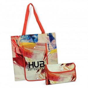 promotional georgia compact tote bag that can be folded down into a snap closure pounch and logo