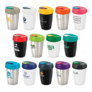 selection of promotional stainless steel reusable coffee cups with a company branded logo