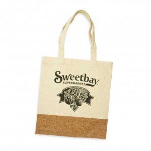 two tone oakridge tote bag with long carry handles and custom printed company logo