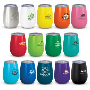 selection of promotional small stainless steel coffee cups with a timeless curved design and company logo