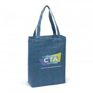 denim devon tote bag with long carry handles and custom printed company logo