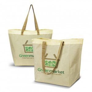 2 extra large market tote bag with long woven carry handles and custom printed company logo