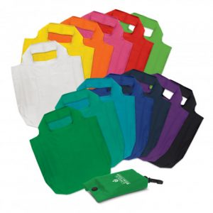 wide selection of promotional atom foldaway reusable shopping bag with a dome closure and a handy clip