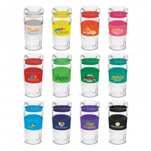 selection of promotional glass reusable coffee cups with a large siicone branded bands