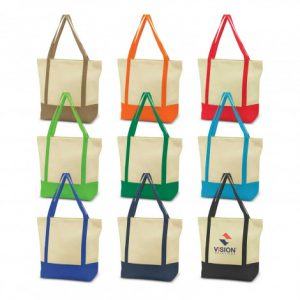 promotional reusable two tone armada tote bag with a long matching coloured handles and custom printed company logo
