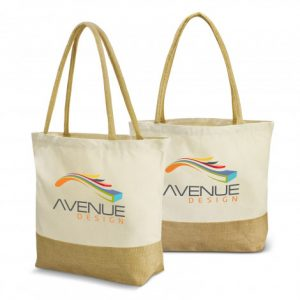 promotional two tone large gaia tote bag with long padded handles and branded logo