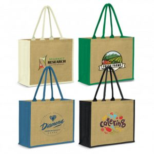4 promotional extra large modena jute tote bag with matching colour padded carry handles and custom printed branded logo