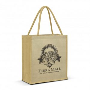 large lanza juco tote bag with padded carry handles and printed logo