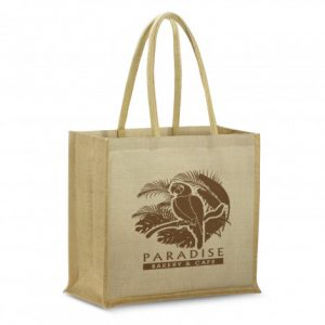 extra large modena juco tote bag with padded carry handles and custom printed corporate logo