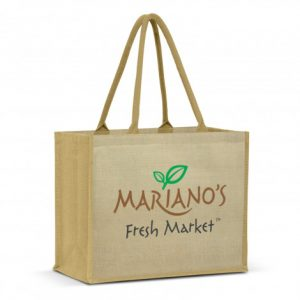 extra wide torino juco tote bag with long padded carry handles and printed logo