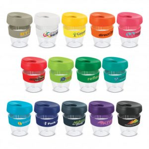 selection of crystal clear reusable coffee cups with a silicone branded bands and a secure screw on lid