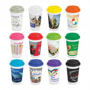 selection of promotional ceramic coffee cups with full colour wrap around branded company logo