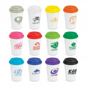 selection of ceramic coffee cups with a secure push on silicone lid and company logo