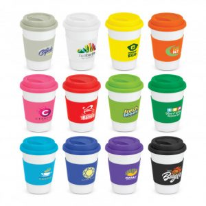 selection of ceramic coffee cups with a large heat resistant branded silicone band and a secure push on silicone lid