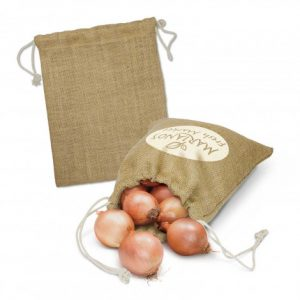 reusable jute product bag with a drawstring closure with custom printed corporate logo