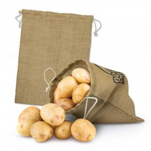 promotional reusable jute product bag with a drawstring closure with custom printed branded logo