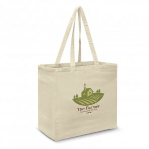 large galleria tote bag with long matching handles and custom printed company logo