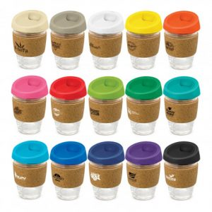selection of promotional reusable glass coffee cups with heat resistant branded bands