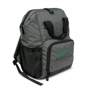 grey cooler backpack with a large zippered front pocket with logo printed and side mesh pocket