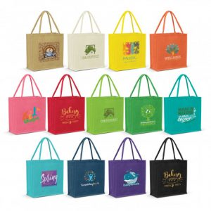 selection of promotional large monza jute tote bag with matching colour padded carry handles and custom corporate logo