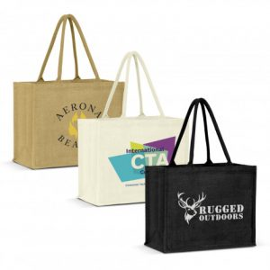 3 selection of promotional extra wide torino jute tote bag with long padded carry handles and printed logo