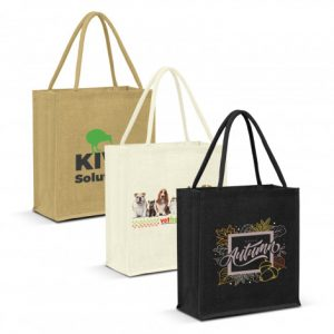 3 promotional large lanza jute tote bag with padded handles and printed logo