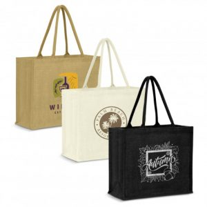 3 extra large modena jute tote bag with matching colour padded carry handles and custom printed company logo