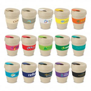 selection of promotional small reusable coffee cups with silicone branded bands