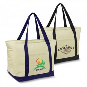 2 calico cooler bag with long carry handles and a zippered top closure, slip pocket on the front