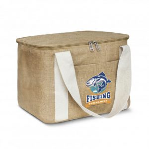 two tone coloured asana cooler bag with natural cotton carry handles and printed corporate logo
