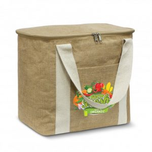 bodhi cooler bag with zippered top closure and a jute slip pocket on the front with printed logo
