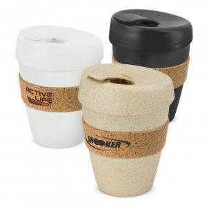 3 reusable coffee cups with heat resistant cork bands branded with company logo