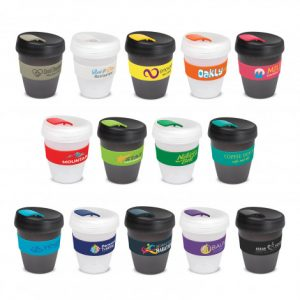 selection of promotional reusable coffee cups with a stunning frosted translucent finish and silicone branded bands