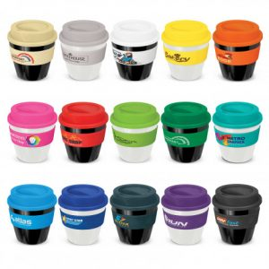 selection of small reusable coffee cup with a heat resistant silicone branded bands and a secure screw on lid