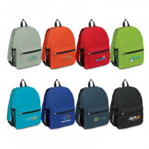 selection of colourful promotional Scholar Backpack with company branded logo include a large zippered front pocket
