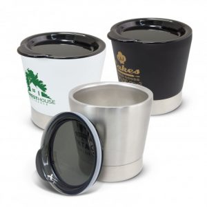 3 Low profile vacuum insulated stainless steel coffee cups with branded logo and presented in a black gifg box