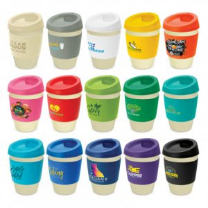 selection of bamboo reusable coffee cups with a wide heat resistant silicone branded bands