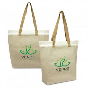 2 marley juco tote bag with long woven carry handles and custom printed corporate logo