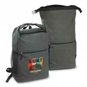 two grey large Canyon Backpack with a roll top closure and secure snap that has company branded logo