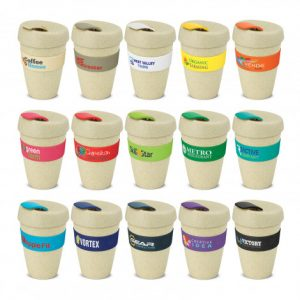 selection of natural look reusable coffee cups with heat resistant large silicone branded bands