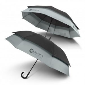 two toned and two layered promotional swiss peak expandable umbrella with printed logo