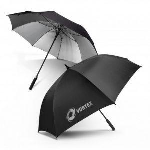 2 black patronus umbrella with soft EVA hand grip and custom printed corporate logo