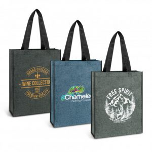 3 promotional large reusable avanti heather tote bag with long carry handles