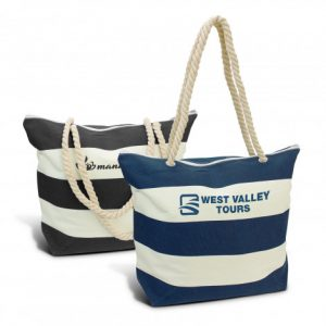 two promotional bali tote bag with a zippered top closure and printed logo