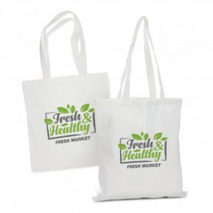 white promotional reusable bamboo tote bag with long handles and company logo
