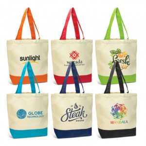 wide selection of canvas sedona tote bag with matching coloured long carry handles and printed logo