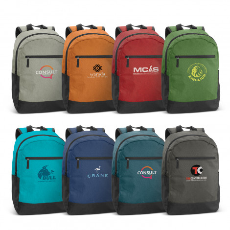 colourful selection of Corolla Backpack with external mesh side pocket and custom logo
