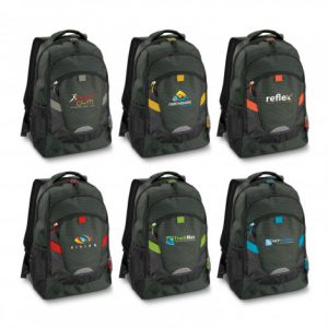 selection of promotional black backpacks with smaller external compartments that has zippers and branded logo